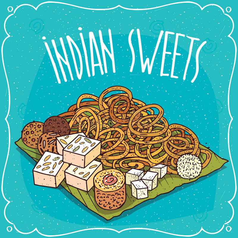 Dulces populares tradicionales de la cocina india stock de ilustración