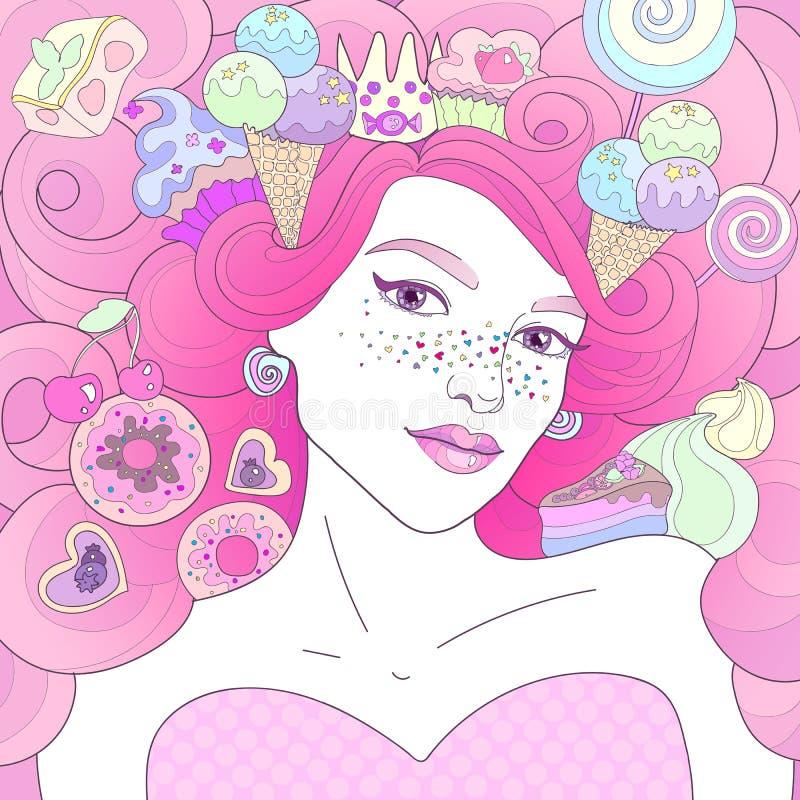 Dulces rosados de la reina stock de ilustración