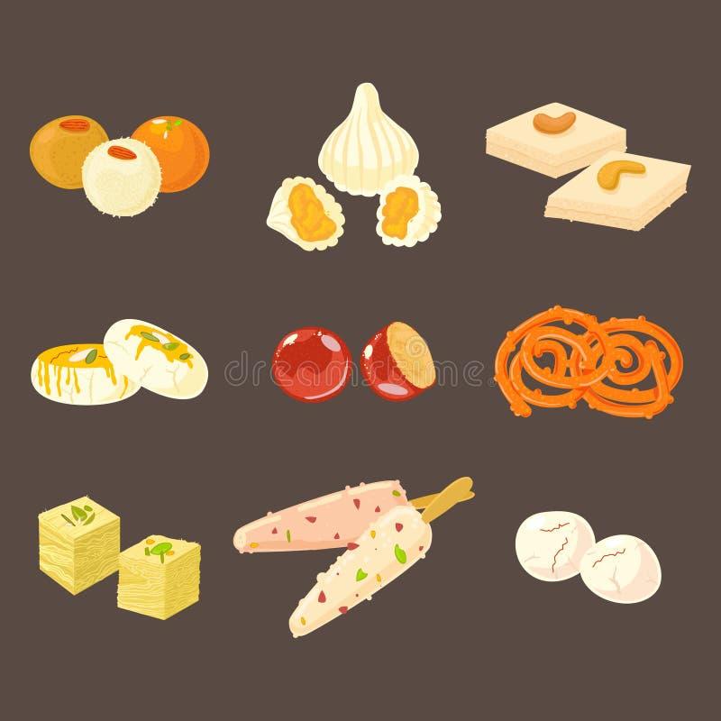Dulces tradicionales indios fijados Iconos indios de los dulces aislados en fondo oscuro ilustración del vector