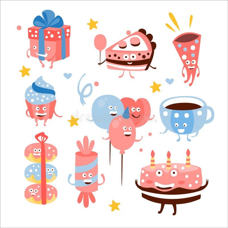 Dulces y cualidades de la fiesta de cumpleaños del niño ilustración del vector