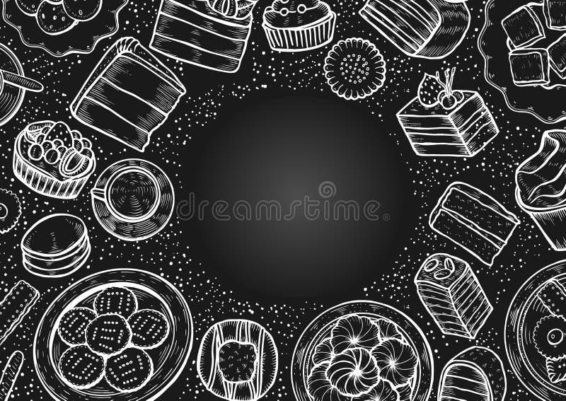 Dulces y sistema de la panadería ilustración del vector