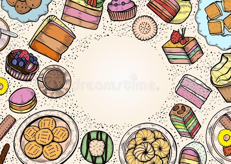 Dulces y sistema de la panadería stock de ilustración