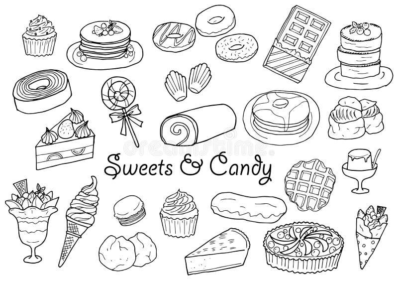 Dulces y sistema dibujados mano del ejemplo del caramelo ilustración del vector