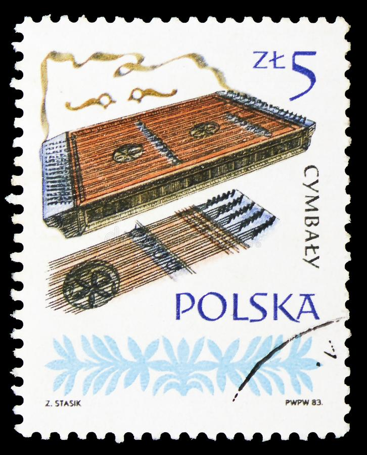 Dulcimer, Polish Musical Instruments serie, circa 1984. MOSCOW, RUSSIA - SEPTEMBER 15, 2018: A stamp printed in Poland shows Dulcimer, Polish Musical Instruments royalty free stock photography