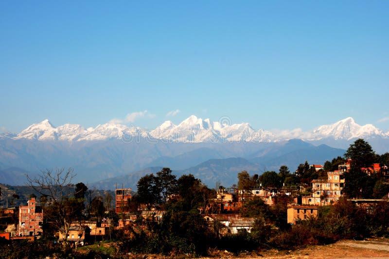 Dulikhel Himalayagebergte stock foto