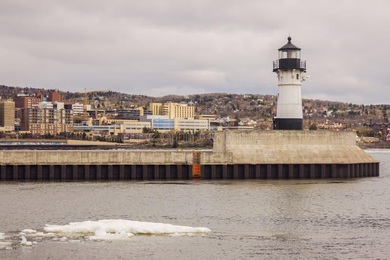 Duluth fyr och Lake Superior royaltyfri fotografi