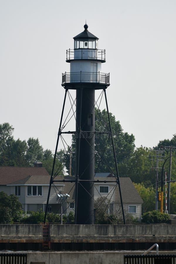 Duluth-Hafen-Südwellenbrecher-inneres Licht lizenzfreie stockfotos