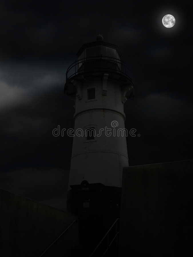Download Duluth Lighthouse On A Foggy Night Stock Photo - Image: 4510682