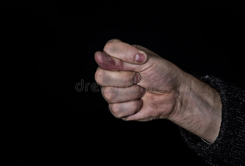 Dulya with dirty hand - rude gesture stock photo