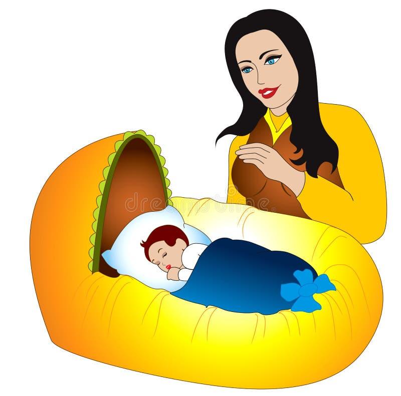 Dulzura maternal para el nuevo bebé llevado stock de ilustración