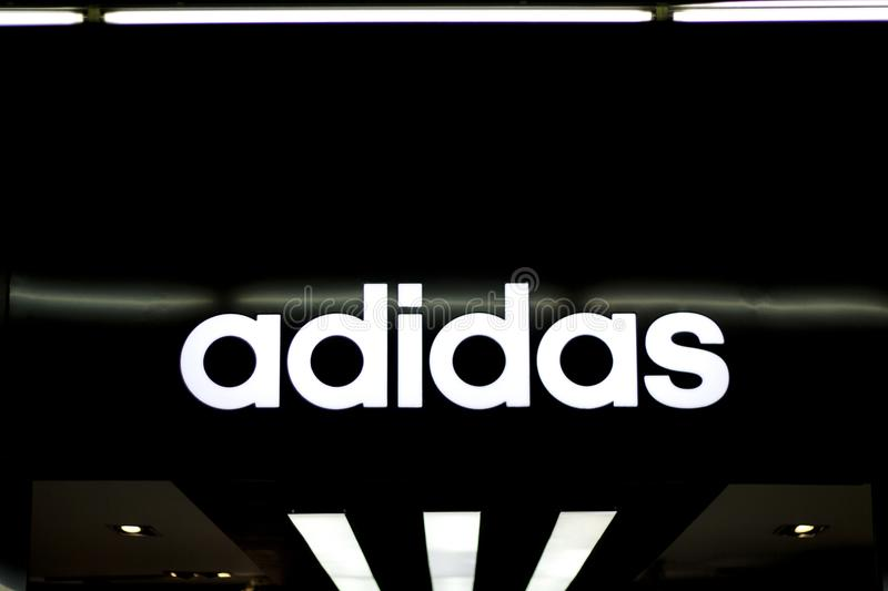 Dumaguete, the Philippines - 08 March 2018: Adidas fashion brand label in shopping mall. stock images