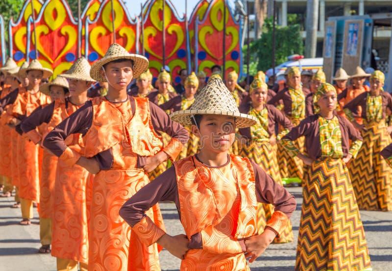 Dumaguete, Philippines - 16 September, 2017: Sandurot Festival street dance of Dumaguete. Carnival people dancing in national costumes. Sandurot parade royalty free stock images