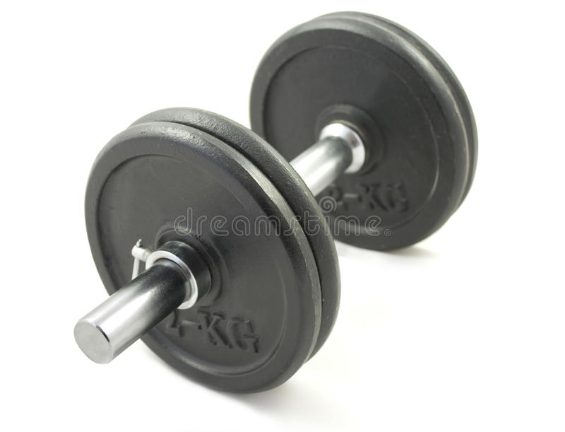 Dumb bell. For bodybuilding. White background stock images