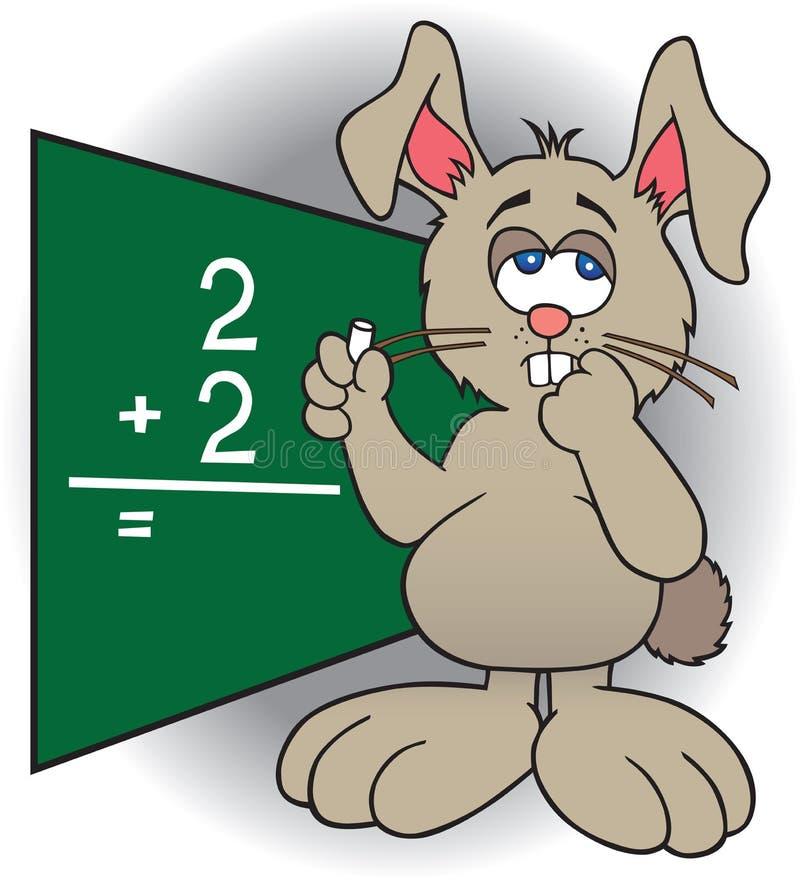 Dumb Bunny. Bunny at blackboard struggling with math problem vector illustration