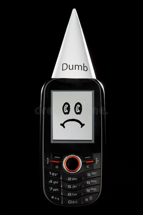 Download Dumb Phone With Sad Face And Dunce Hat Stock Image - Image of error, business: 16263903