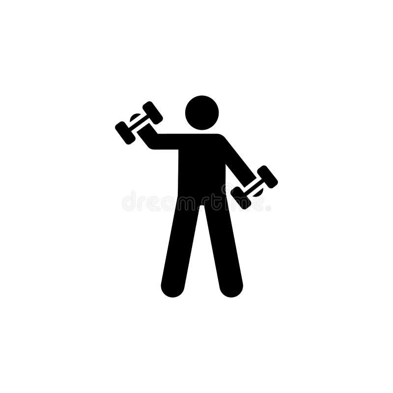 Dumbbell, ćwiczenie, sprawność fizyczna, szkolenie, ciężar ikona Element gym piktogram Premii ilo?ci graficznego projekta ikona z royalty ilustracja