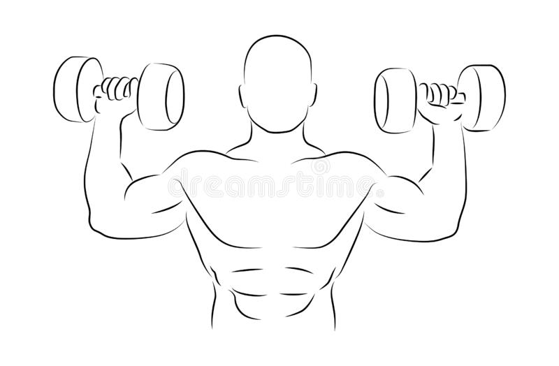 Dumbbell bench press vector illustration stock photo