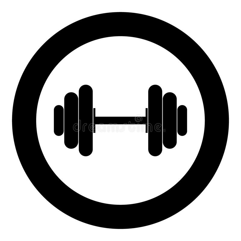 Dumbbell the black color icon in circle or round. Vector illustration royalty free illustration