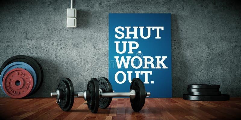 Dumbbell with black plates on a gym floor. 3d Illustration vector illustration