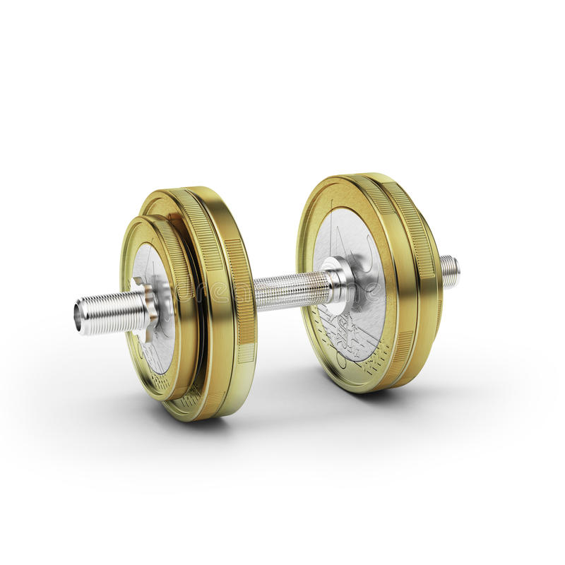 Download Dumbbell with euro coin stock photo. Image of equipment - 27625150