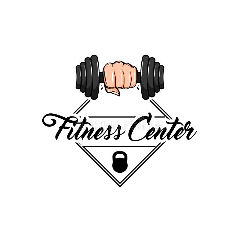 Dumbbell in fist. Gym weightlifting and fitness sport club logo. Vector file. stock illustration