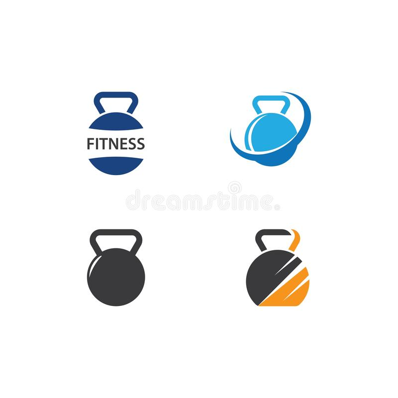 Dumbbell and fitness logo icon. Vector template, gym, design, barbell, sport, muscle, strong, weight, club, body, bodybuilding, symbol, emblem, health royalty free illustration