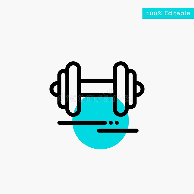 Dumbbell, Fitness, Sport, Motivation turquoise highlight circle point Vector icon royalty free illustration