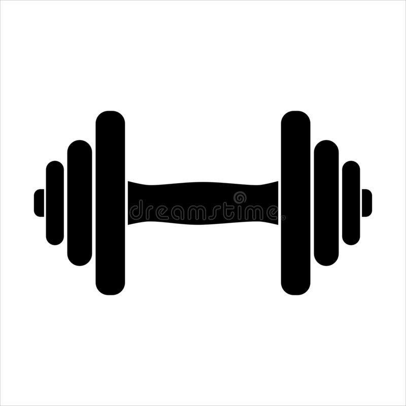 Free Dumbbell For Gym Icon , Black Sign Design Stock Photography - 166222892