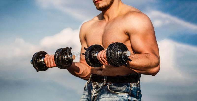 dumbbell Halterofilista forte, músculos deltoid perfeitos, ombros, bíceps, tríceps e músculos da caixa com peso Homem imagens de stock royalty free