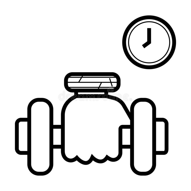 Dumbbell in hand icon vector illustration