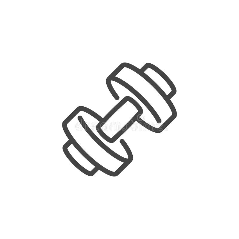 Dumbbell ikona Etykietka dla sportów robi zakupy, gym, sprawności fizycznej klasa, sportowy szkolenie Zdrowy styl życia i trening royalty ilustracja