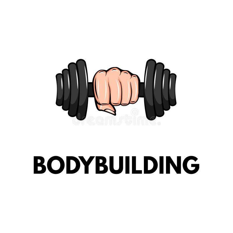 Dumbbell ikona, ręka Bodybuilding loga etykietki odznaka Pięści mienia ciężar wektor royalty ilustracja