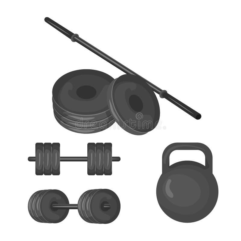 Dumbbell, kettlebell, talerzowy ciężar i barbell ikona na białym tle, Sporta wyposażenia ilustraci set royalty ilustracja