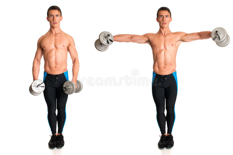 Dumbbell Lateral Raise royalty free stock photo
