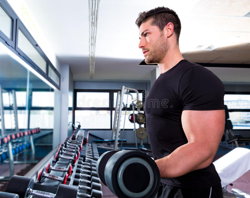 Download Dumbbell Man At Gym Workout Biceps Fitness Stock Image - Image: 40978713