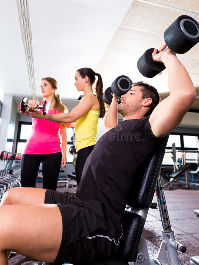 Dumbbell Man At Gym Workout Fitness Weightlifting Stock Photo