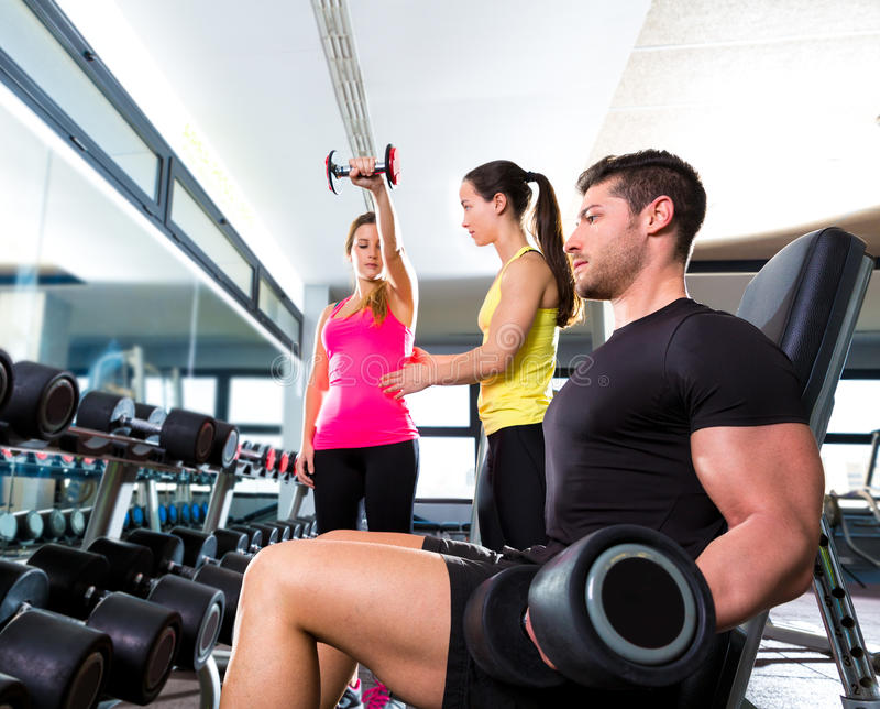 Download Dumbbell Man At Gym Workout Fitness Weightlifting Stock Photo - Image: 40978722
