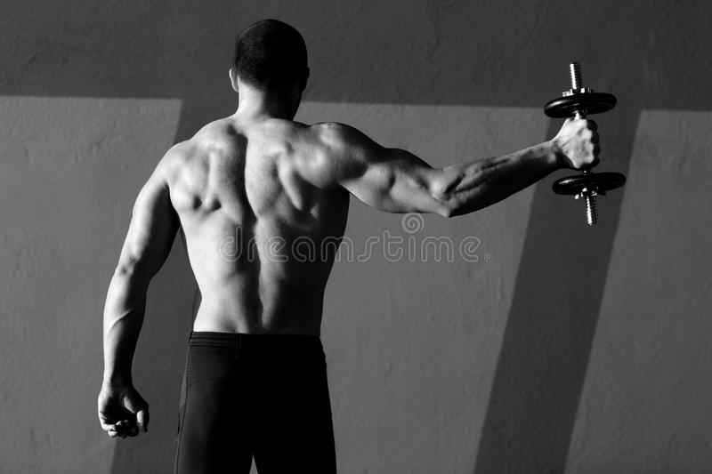 Dumbbell man rear view with back muscles stock images