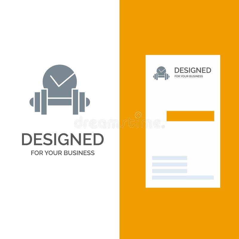 Dumbbell, opieka zdrowotna, Popielaty logo projekt i wizytówka szablon, Niemy, sport, ilustracja wektor