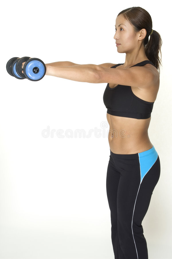 Download Dumbbell Raise 4 stock image. Image of lycra, woman, girl - 119353