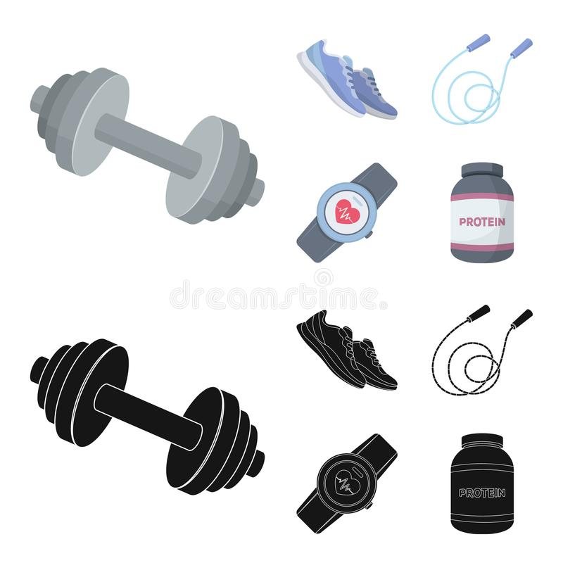 Dumbbell, rope and other equipment for training.Gym and workout set collection icons in cartoon,black style vector stock illustration