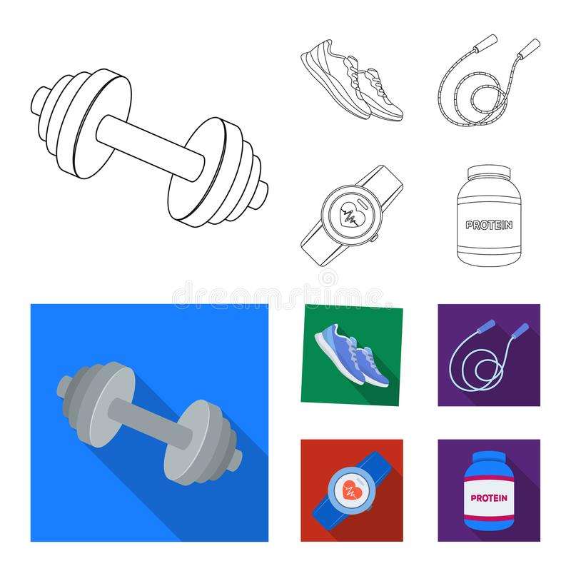 Dumbbell, rope and other equipment for training.Gym and workout set collection icons in outline,flat style vector symbol stock illustration