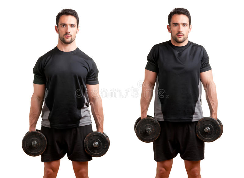 Download Dumbbell Shrugs stock photo. Image of gymnasium, adult - 31439338
