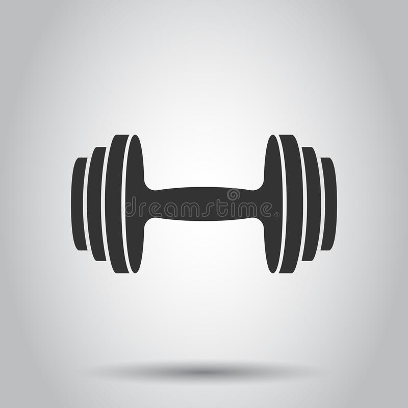 Dumbbell sprawności fizycznej gym w mieszkanie stylu Barbell ilustracja na białym tle Bodybuilding sporta pojęcie ilustracja wektor