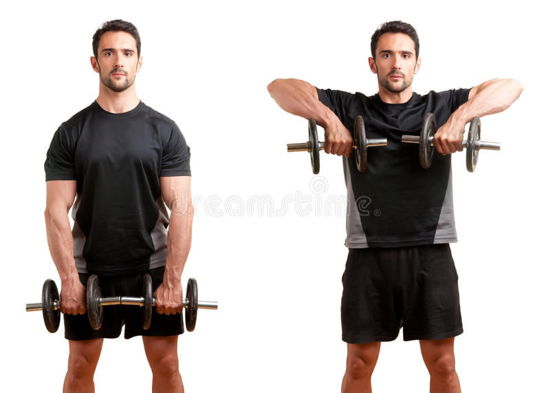 Dumbbell Upright Row. Personal Trainer doing dumbbell upright row for training his deltoids, isolated in white stock photos