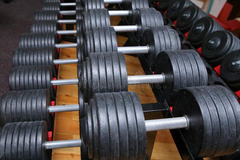 Download Dumbbell weights in gym stock image. Image of equipment - 17256963