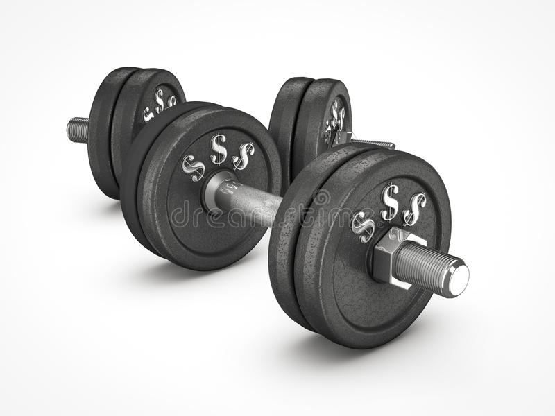 Dumbbell weights with money sign royalty free illustration