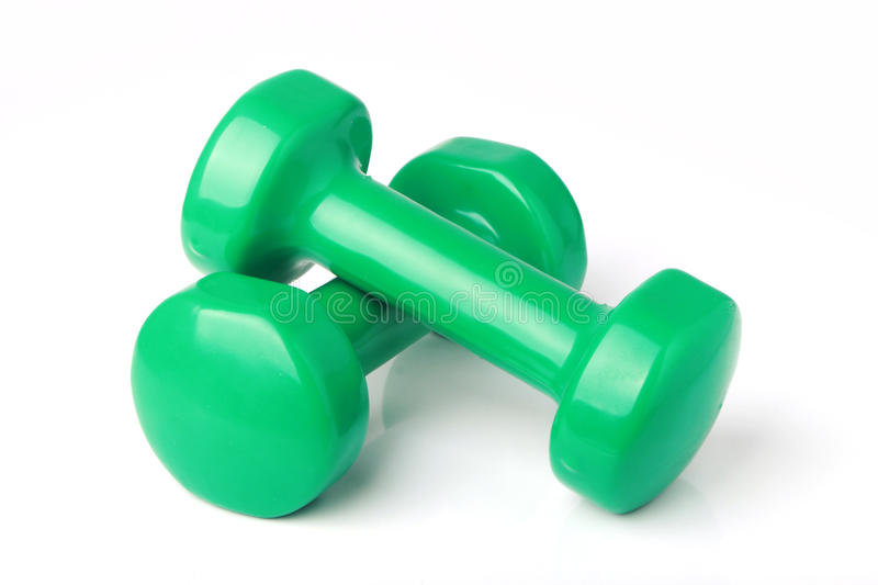Dumbbell weights. Two dumbbell free weights isolated on white background royalty free stock photos