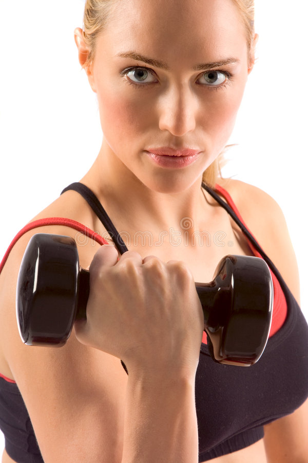 Dumbbell woman weight workout in gym stock images