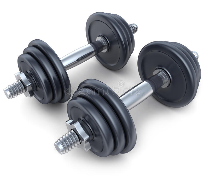 Dumbbells. On white background (done in 3d royalty free illustration